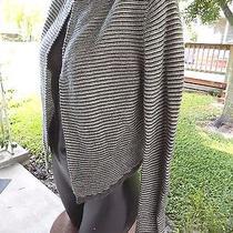 Express Size L Juniors Shrug Knit Gray White Stripes Sweater Acrylic Wool Blend Photo
