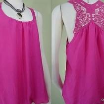 Express Size M 100% Silk Crochet Buatterfly Back Detailed Top in Hibiscus Pink Photo