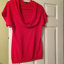 Express Size M Red S/s Red Cowl Neck Lightweight Sweater Photo