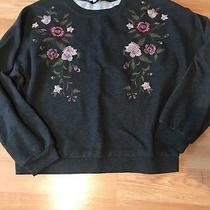 Express Size Medium Sweatshirt With Pink and Purple Flowers Euc Photo