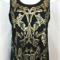 Express Size S Black Antiqued Gold Baroque Sequin Knit Tank Top Photo