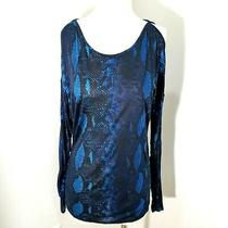 Express Size S / P Black Teal Cold Shoulder 100% Rayon Long Sleeve Top Blouse Photo