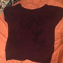 Express Size Small Burgundy Floral Tee Preowned Photo