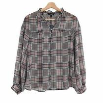 Express Size Small Plaid Black Red Ruffle Button Down Semi-Sheer Top Blouse  Photo