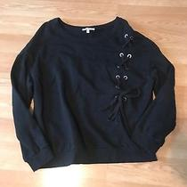 Express Size Small Sweatshirt Lace Up Sides Black Euc Photo