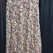 Express Size Xl Floral Skirt Vintage Long Button Down Pink Photo