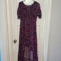 Express Size Xs Purple Multicolored Womens Casual Dress High Low Short Sleeved Photo