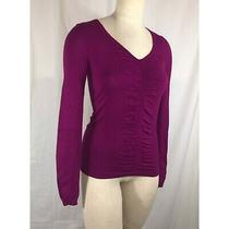 Express Size Xs Purple Ruched Detail v-Neck Sweater Photo