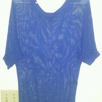 Express Size Xs Women's Blue Crochet Style See Through Knit Top Blouse   Photo