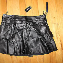 Express Skater Skirt Lined Through Hips Pleated Layered Size 4 Black Leather Nwt Photo