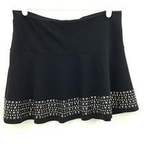 Express Skater Skirt Womens Small Black Silver Tone Metal Studs Mini Flare Knit Photo
