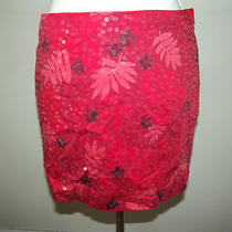 Express Skirt Juniors Size 3/4  Red Floral Sequined Mini Photo