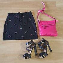 Express Skirt Knit Floral Print Waist Tie Above Knee Black Womens Size S Euc Photo
