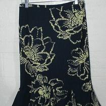 Express Skirt Navy With Beige Pattern Elastic Waist Size S Photo