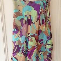 Express Skirt Silk Chiffon Floral Ruffle Layered Turquoise & Purple Sz 3/4  Photo