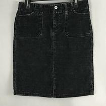 Express Skirt Size 5/6 Black Corduroy Straight Career Skirt Knee Length  Photo