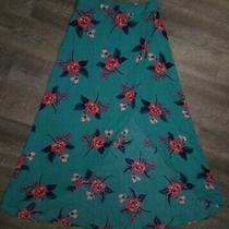 Express Skirt Size Medium Floor Length Tulip Style Teal Floral Elastic Waist  Photo