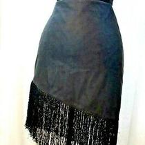 Express Skirt Women's Fitted Zip Back Lined Fringe Spandex Romantic Nwt E6 Photo