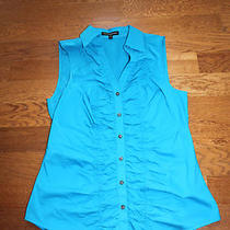 Express Sleeveless Bright Blue Ruffle Front Bouse Top Medium Photo