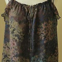 Express Slvless Nice Ruffled Blouse Pullover Spaghetti Straps Multi Color Top M Photo