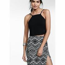 Express Small Black Rayon Tie Back Cropped Top Shirt Sleeveless Crop (S 4-6) Photo