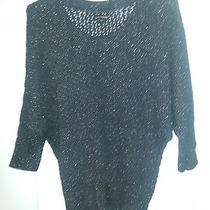Express Small Dolman Style Charcoal Gray With Silver Metallic Highlights Sweater Photo