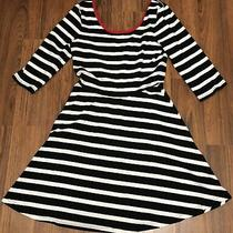 Express Small Drop Back Stripe Cotton Spandex Dress 3/4 Sleeves Black White Red Photo