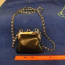 Express Small Faux Black Leather Crossbody Wallet Purse Silver Chain Photo