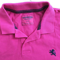Express Small Lion Mens Hot Pink With Navy Logo Pique Polo Shirt Extra Large Photo
