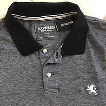 Express Small Lion Mens New Heathered Black White Pique Polo Shirt Extra Large Photo