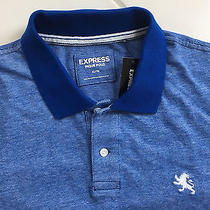 Express Small Lion Mens New Heathered Blue White Pique Polo Shirt Extra Large Photo
