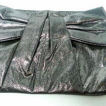 Express Small Womens Metallic Silver Evening Purse Clutch Zip Top Photo