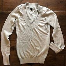 Express Small Womens Top Silver Sparkle v-Neck Pullover Long Sleeved Euc Metallc Photo