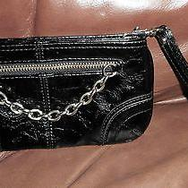 Express Small Wristlet Clutch Black Zip Top Attached Chain Zipper Pocket Front  Photo