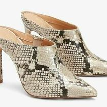 Express Snakeskin Print Pointed Toe Mules Size 6 Photo