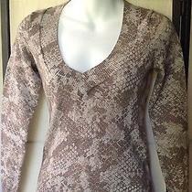 Express Snakeskin Print v Neck Silver Metallic Sweater Size Xs Photo