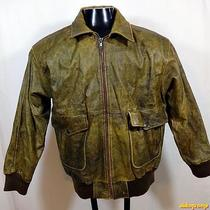 Express Soft Leather Flight Bomber Jacket Womens Size L Large Distressed Brown Photo