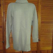 Express Solid  Beige Turtleneck Fall Acrylic Long Sweater Sz M Photo