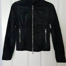 Express Solid Black Suede Leather Full Zip Lined Women's Jacket Size Xs Photo