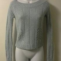 Express Solid Light Blue Scoop Neck Sweater M Long Sleeve Casual Knit Stretch Photo