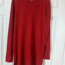 Express Solid Red Sweater Women L 100% Acrylic Photo