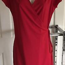 Express Solid Red Wrap/sarong Event Wdress Short Sl v-Neck Tie Waist Knee 11/12 Photo