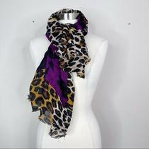 Express Square Leopard and Floral Scarf Wrap Animal Print Purple Black Brown  Photo