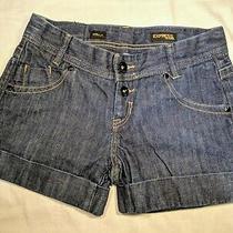 Express Stella Dark Blue Shorts Jeans Sz 0 Xs Womens Cuffed Pants Cotton Button Photo