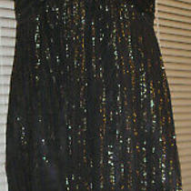Express Strapless Black Gold Metallic Dress Size 12 Photo