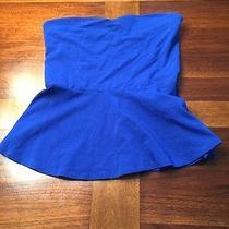 Express Strapless Blue Peplum Top Photo