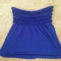 Express Strapless Blue Ruffled Tube Crop Top Flowy Summer Small Photo