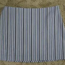 Express Stretch Blue Brown and White Striped Dress Skirt Sz 5/6 Euc 28
