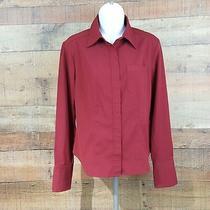 Express Stretch Dress Shirt Top Womens Size 3/4 Red L26 Photo