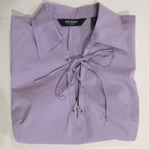 Express Stretchsexy v-Neck Lace-Up Front Purple Fitted Top - Size 7/8 (New) Photo